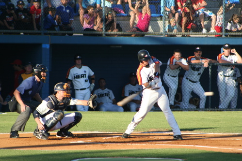 Twins player Luke Hughes bats for the Perth Heat