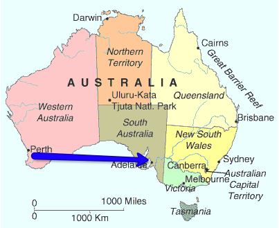 Map of Perth to Adelaide