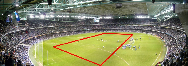 AFL footy at Etihad Stadium in Melbourne in July