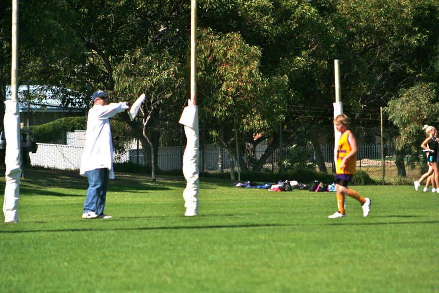 Tim as footy goal umpire