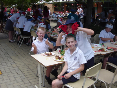 Dane with mates at Christmas/Last Day Feast